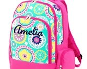 Girls Monogram Backpack Floral Mint Hot Pink School Personalized