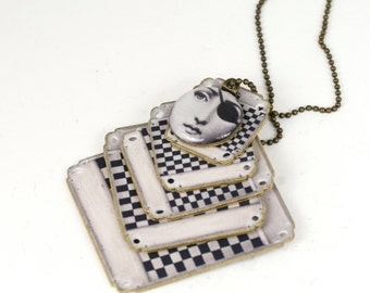 Statement Necklace, Checkerboard Necklace, Checkerboard Jewelry, Pirate Necklace, Black and White Jewelry, Game Board, Checker Necklace