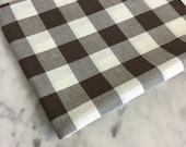 Vintage Large Scale Brown Gingham Fabric | Vintage Fabrics | Zakka Style Textile