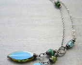 Green & Blue Lariat Necklace, Sterling Silver Y Necklace, Boho Jewelry