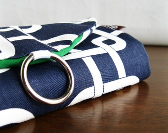 Jewelry Roll. Gifts for Travelers. Navy Links Travel Jewelry Organizer. Stud Earring Holder. Travel Gift.