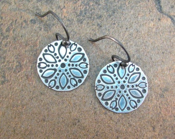 Ethnic Disc Earrings - Sterling Silver Boho Earrings - Folk Style Earrings - Everyday Earrings - Silver Botanical Earrings