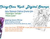 Intro Price - Digital Stamp Set of Two Images / Instant Download / Kimono Mermaid and Butterfly Fantasy Fairy Girl Art by Ching-Chou Kuik