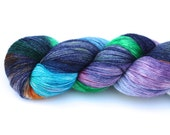 Kaleidoscope--hand dyed lace weight yarn, BFL and silk, (875yds/100gm)