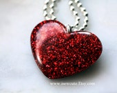 Valentine Jewelry - Necklace - Red Heart, Sugared Garnet - Glitter Heart Necklace - Valentine's Day Gift Idea for Her, Handmade by isewcute