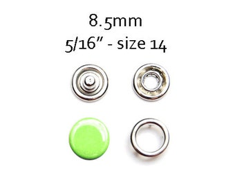 25 sets Lime Green Snap Fasteners 8.5MM. capped snaps. clothes fasteners. no sew snap buttons. metal prong snaps. metal baby snaps #700122