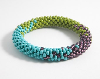 turquoise olive green and metallic purple beaded crochet bangle  FREE US SHIPPING