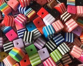 100 8mm x 8mm Resin Cube Striped Beads