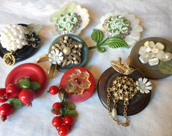 Lot of 8 VINTAGE Button Altered Costume Jewelry Brooches