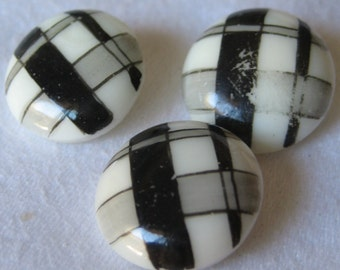 Set of 3 ANTIQUE Painted Black & White Plaid White Milk Glass BUTTONS