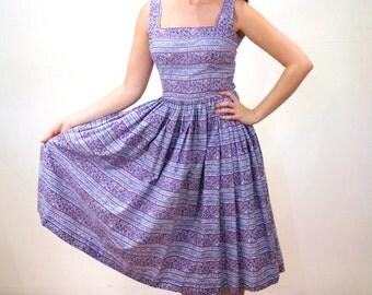 Rockabilly 50s Jerry Gilden Dress, Purple Sundress, Purple Print Cotton Dress, 1950s Dress, Full Skirt 50s Dress S M