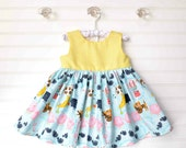 Girls Nursery Rhyme Print Dress, One of a Kind, Ready to Ship, Yellow Gingham Cotton Dress, baby dress, toddler dress