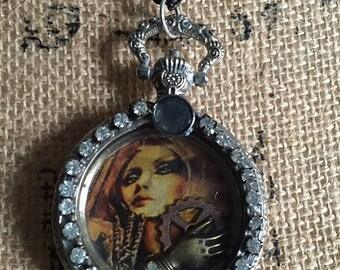 Resin Graphic Pendant Necklace in Steampunk Fantasy Victorian style