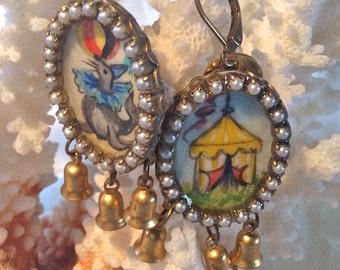 Lilygrace Vintage Circus Seal and Little Top Handpainted Cameo Earrings with Vintage Glass Pearls and Vintage Brass Bells