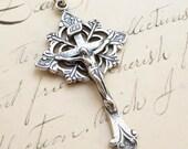 Sterling Silver Trefoil Crucifix - Antique Replica Crucifix