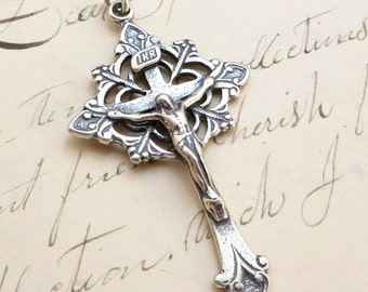 Sterling Silver Trefoil Crucifix - Antique Replica Crucifix