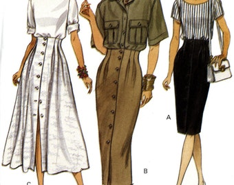 Vogue 8640 Easy High Raised Waist Straight Flared Skirt Button Front Size 8 10 12 Uncut Vintage Sewing Pattern 1993