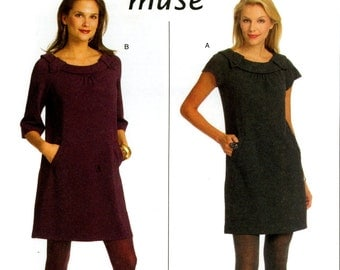 Butterick B5244 Easy Muse Knit Dress with Neckline Details Size 14 16 18 20 Uncut Sewing Pattern 2008
