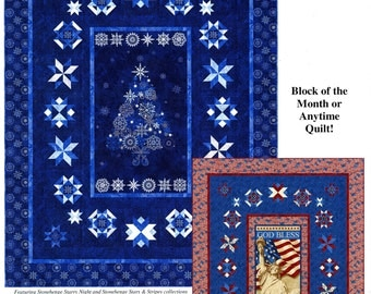 Quilt Moments QM132 Pattern Starlight Panel Quilt Star Block of the Month Quilt Pattern 2013