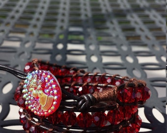 Ruby red leather wrap bracelet with button clasp