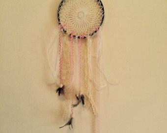 Upcycled doilie dream catcher with pink accents Reclaimed
