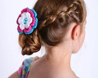 20% OFF Flower Hair Clip Crochet Flower White Hair Clip White Flower Hot Pink Hair Clip Hot Pink Flower Bright Blue Hair Clip Bright Blue Fl