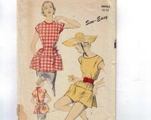 1950s Vintage Sewing Pattern Advance 5998 Misses Cobblers Apron Poncho Smock Size Small 10 12 Bust 28 30 50s