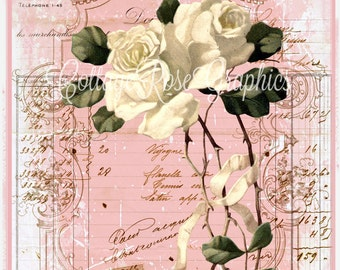White Roses French Ephemera Script shoppe pink single image BUY 3 get one FREE Digital download ECS