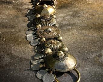 """Professional Bellydance BELT, 35"""" -37"""" inches- Brass, Kuchi Coins, Fusion, Vintage, Noir, Nouveau, Ritual, Tribal, Costume"""