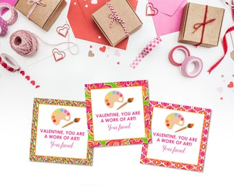 Colorful Art Valentine Gift Tags or Cards -- Girl Valentine -- Custom -- Print-at-home -- Printable -- Gift Enclosure