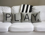 PLAY Scrabble Pillows - CASES ONLY // Scrabble Tile Pillows // Letter Pillow Cushions