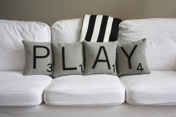 PLAY Scrabble Pillows - CASES ONLY // Scrabble Tile Pillows // Letter Pillow Covers // Cushion Covers // Playroom // Farmhouse Style