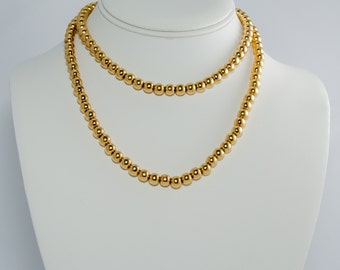 Vintage Monet Beaded Jewelry Long Flapper Necklace, Gold Bead Necklace, 1980s 30 inch