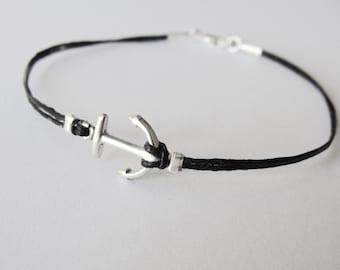 Anchor bracelet, Nautical bracelet, sterling anchor linen bracelet, delta gamma anchor, Christmas gift, gift for woman, gift for her