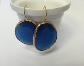 Royal Blue Dangle Earrings Gemstone Gold Plated Drop Earrings