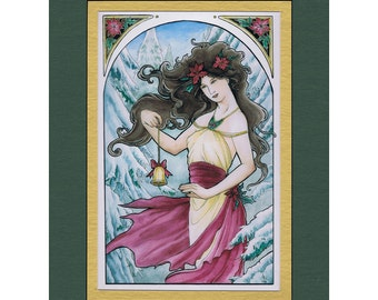 5x7 Matted Art Print Holiday Nouveau Lady with Christmas Bell, Poinsettia, and Snowy Trees