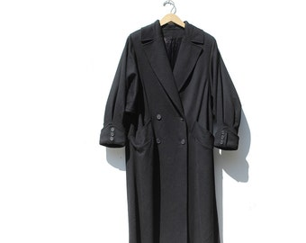 Vintage Black Pure Wool Voluminous Coat / Oversized Bat wing Sleeve Coat