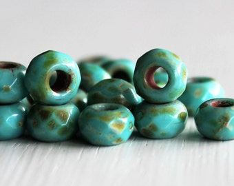 25 6x9mm Turquoise  Picasso Faceted Czech Glass Roller Beads