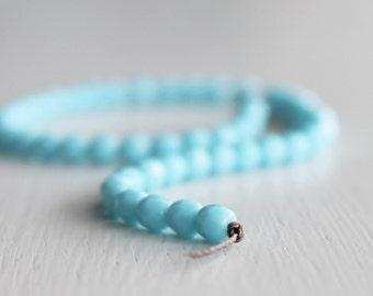 50 Opaque Sky Blue 4mm Faceted Rounds - Czech Glass Beads