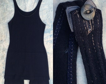 antique ca. 1920s navy blue wool bathing suit w. hidden hip pocket