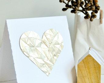 Gem Embossed Silver Leaf Love Heart Gift Card Valentine Wedding Engagement Mothers Day