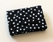 Mini Wallet with Credit Card slots and zipper Coin pocket - White Dots on Black - fabric