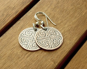 Celtic copper earrings | patterned copper earrings | celtic knot | copper dangle earrings | celtic jewelry | 1.5"