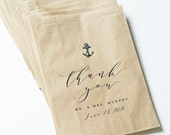 Wedding Candy Buffet Brown Kraft Favor Bags - Anchor, Calligraphy Script Font, Custom Favor Bags, Beach or Nautical Wedding Candy Bar