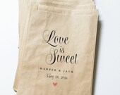 Love is Sweet Wedding Candy Buffet Brown Kraft Favor Bags - Calligraphy Script Font, Pink Heart, Custom Favor Bags, Candy Bar