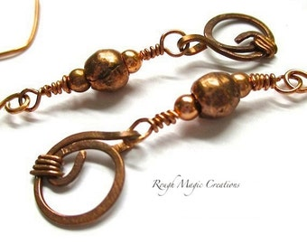 Edgy Urban Jewelry, Boho Chic Earrings, Antique Copper Earrings, Ethnic Tribal African Beads, Extra Long Bohemian Dangles