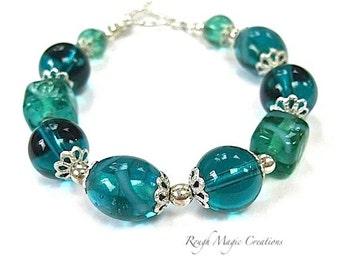 Aquamarine Teal Bracelet. Lampwork Glass Beads. Sterling Silver. Turquoise Aqua Blue Green. Chunky Bracelet. Boho Bohemian Jewelry for Women
