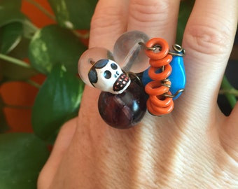 Dia De Los Muertos Jewelry // Day of the Dead // Skull Ring // Beaded Ring // Boho Jewelry // Howlite // Adjustable // Anxiety Ring