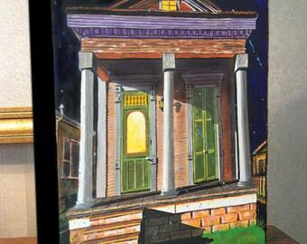 "Halloween Shotgun House French Quarter Art Canvas Print On 8x10x1.5"" and 11x14x1.5"" Gallery Wrap"
