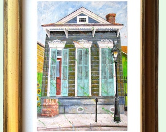 """New Orleans Gold Framed Shotgun House Art """"French Quarter Morning"""" 12.25 x 10.25"""" and 16.25x13.25"""" Matted Print Signed and Numbered"""